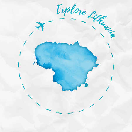 Lithuania watercolor map in turquoise colors. Explore Lithuania poster with airplane trace and handpainted watercolor Lithuania map on crumpled paper. Vector illustration. Иллюстрация