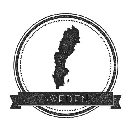Retro distressed Sweden badge with map. Hipster round rubber stamp with country name banner, vector illustration.