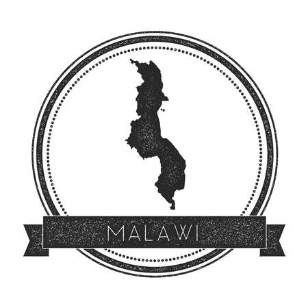 mal: Retro distressed Malawi badge with map. Hipster round rubber stamp with country name banner, vector illustration.