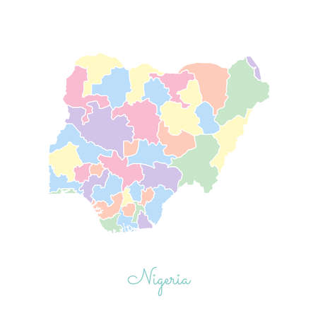 Nigeria region map: colorful with white outline. Detailed map of Nigeria regions. Vector illustration. Illustration