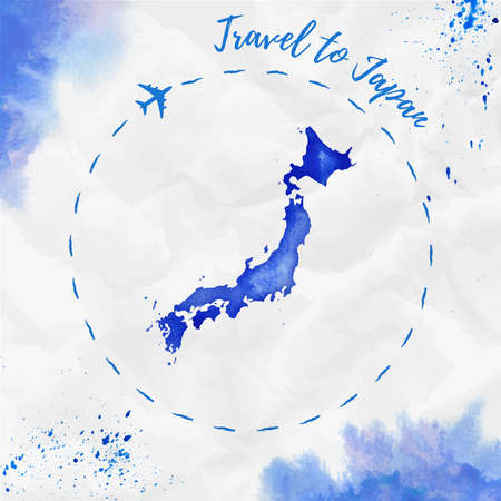 Japan watercolor map in blue colors. Travel to Japan poster with airplane trace and handpainted watercolor Japan map on crumpled paper. Vector illustration.