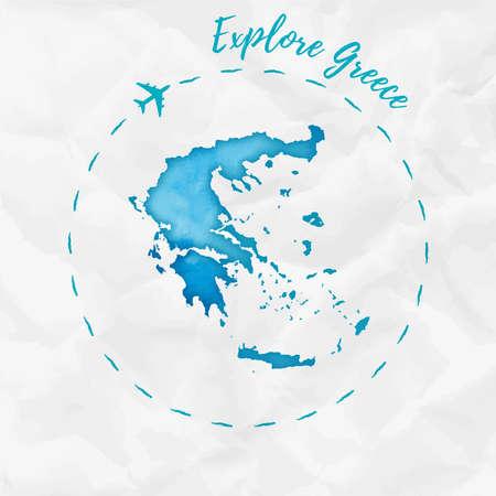 그리스 청록색 색상에서 수채화지도입니다. 비행기 추적 및 handpainted 수채화 그리스 포스터 탐색 구겨진 된 종이에 그리스지도입니다. 벡터 일러스트  일러스트
