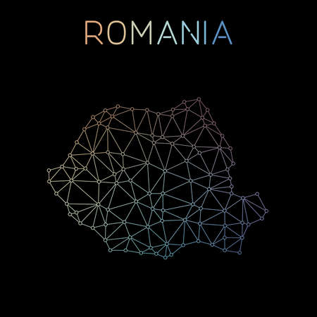 Romania network map. Abstract polygonal map design. Network connections vector illustration.