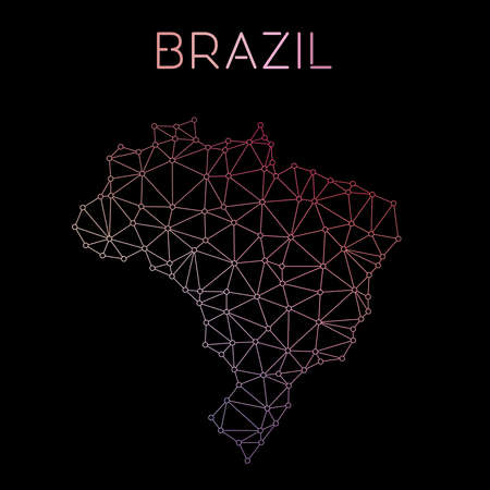 federative republic of brazil: Brazil network map. Abstract polygonal map design. Network connections vector illustration.