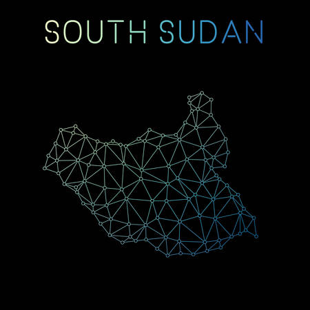 South Sudan network map. Abstract polygonal map design. Network connections vector illustration.