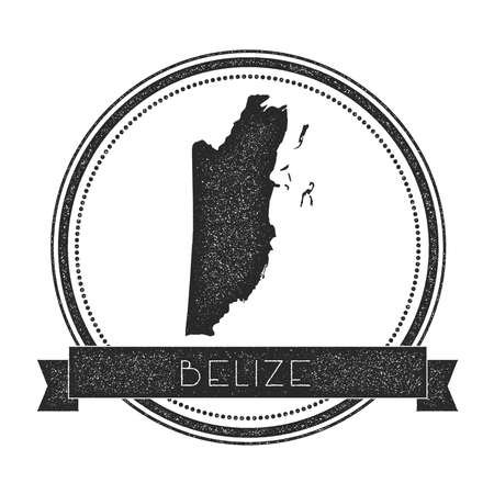 cachet: Retro distressed Belize badge with map. Hipster round rubber stamp with country name banner, vector illustration.