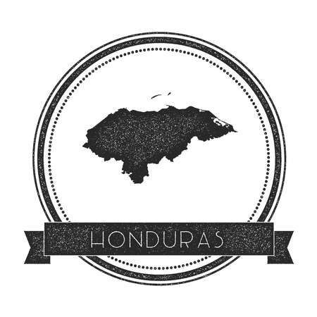 Retro distressed Honduras badge with map. Hipster round rubber stamp with country name banner, vector illustration.