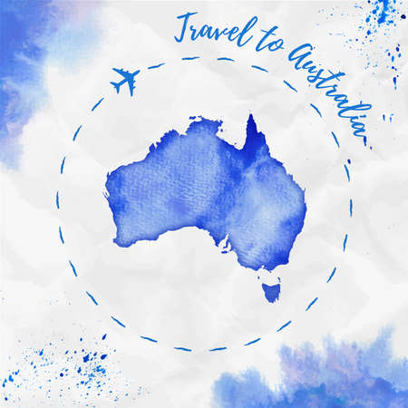 Australia watercolor map in blue colors. Travel to Australia poster with airplane trace and handpainted watercolor Australia map on crumpled paper. Vector illustration.