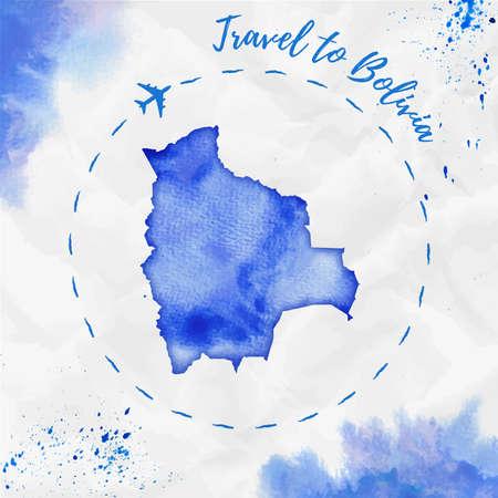map bolivia: Bolivia acuarela mapa en colores azules. Cartel de viaje a Bolivia con traza de avión y acuarela pintada a mano Mapa de Bolivia en papel arrugado. Ejemplo del vector Vectores