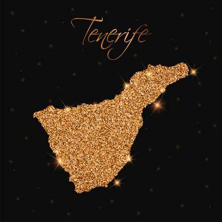 Tenerife map filled with golden glitter. Luxurious design element, vector illustration. Banco de Imagens - 78209431