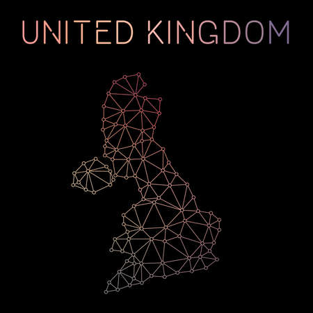 United Kingdom network map. Abstract polygonal map design. Network connections vector illustration.