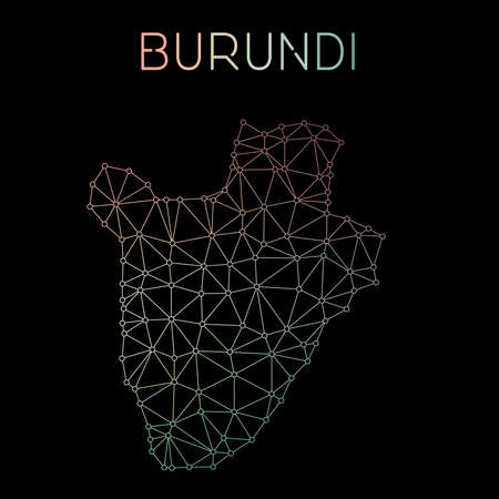 Burundi network map. Abstract polygonal map design. Network connections vector illustration.