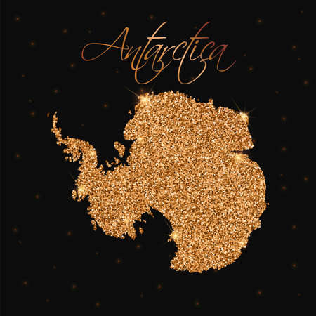 Antarctica map filled with golden glitter. Luxurious design element, vector illustration. Illustration