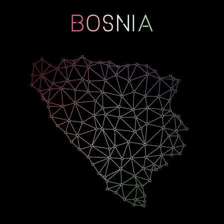 herz: Bosnia and Herzegovina network map. Abstract polygonal map design. Network connections vector illustration. Illustration