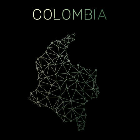 Colombia network map. Abstract polygonal map design. Network connections vector illustration.