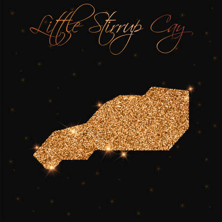 Little Stirrup Cay map filled with golden glitter. Luxurious design element, vector illustration.