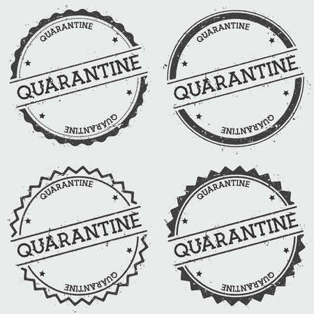quarantine: Quarantine insignia stamp isolated on white background. Grunge round hipster seal with text, ink texture and splatter and blots, vector illustration.