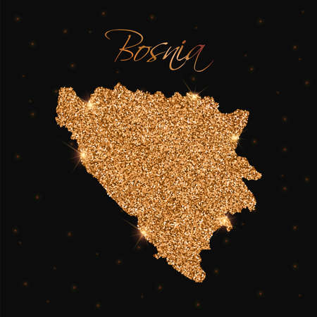 herz: Bosnia map filled with golden glitter. Luxurious design element, vector illustration. Illustration