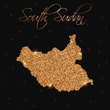 South Sudan map filled with golden glitter. Luxurious design element, vector illustration.