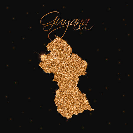 Guyana map filled with golden glitter. Luxurious design element, vector illustration.