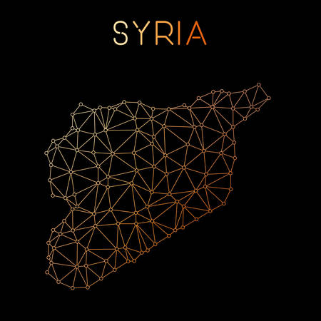Syrian Arab Republic network map. Abstract polygonal map design. Network connections vector illustration.
