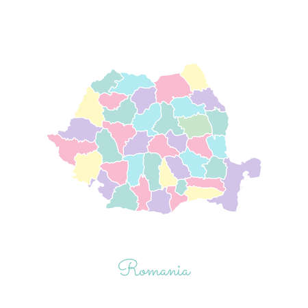 rom: Romania region map: colorful with white outline. Detailed map of Romania regions. Vector illustration. Illustration