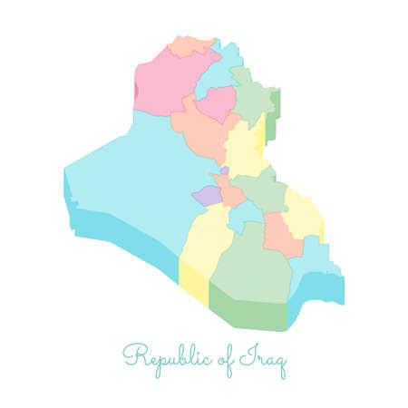 Republic of Iraq region map: colorful isometric top view. Detailed map of Republic of Iraq regions. Vector illustration. Illustration