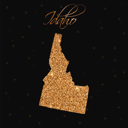 Idaho state map filled with golden glitter. Luxurious design element, vector illustration.