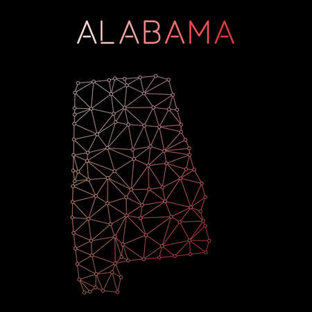 Alabama network map. Abstract polygonal US state map design. Network connections vector illustration. Illustration
