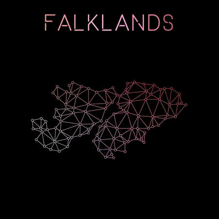 Falkland Islands (Malvinas) network map. Abstract polygonal map design. Network connections vector illustration.