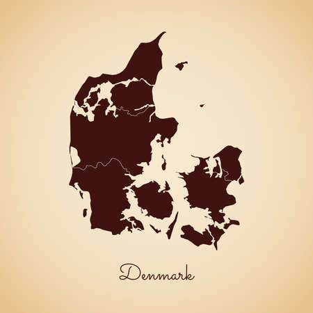 Denmark region map: retro style brown outline on old paper background. Detailed map of Denmark regions. Vector illustration.