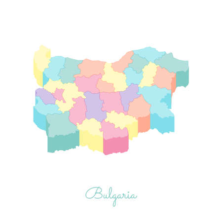 Bulgaria region map: colorful isometric top view. Detailed map of Bulgaria regions. Vector illustration. Illustration