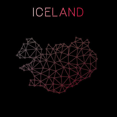 Iceland network map. Abstract polygonal map design. Network connections vector illustration.