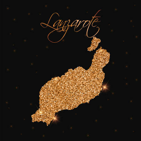 Lanzarote map filled with golden glitter. Luxurious design element, vector illustration.