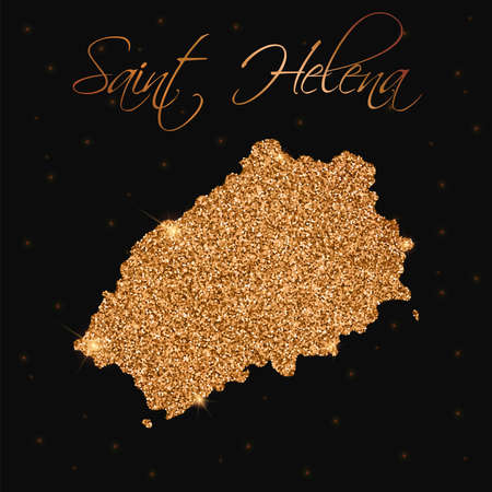 Saint Helena map filled with golden glitter. Luxurious design element, vector illustration.