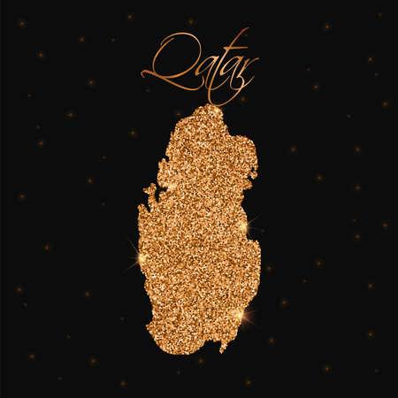 Qatar map filled with golden glitter. Luxurious design element, vector illustration.
