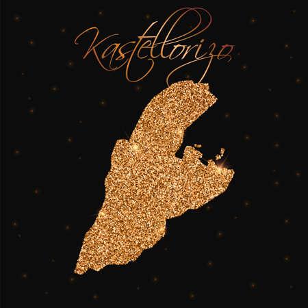 Kastellorizo map filled with golden glitter. Luxurious design element, vector illustration. Illustration