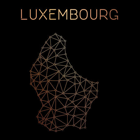 Luxembourg network map. Abstract polygonal map design. Network connections vector illustration. Illustration