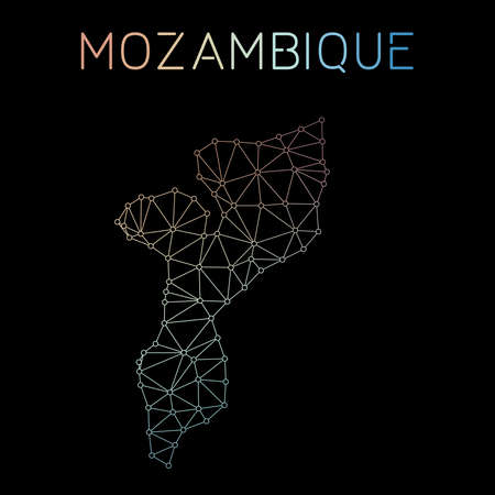 Mozambique network map. Abstract polygonal map design. Network connections vector illustration. Illustration