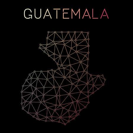 Guatemala network map. Abstract polygonal map design. Network connections vector illustration. Ilustração