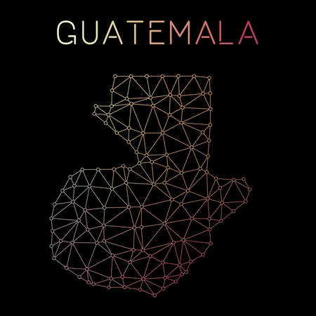Guatemala network map. Abstract polygonal map design. Network connections vector illustration. Illustration