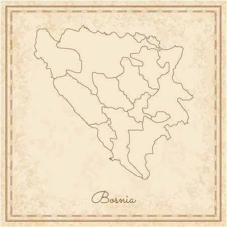 herz: Bosnia region map: stilyzed old pirate parchment imitation. Detailed map of Bosnia regions. Vector illustration.
