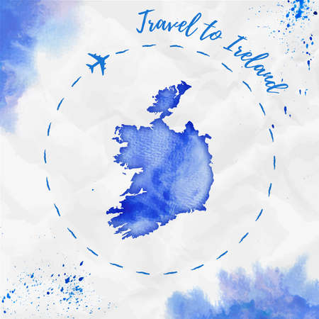 Ireland watercolor map in blue colors. Travel to Ireland poster with airplane trace and handpainted watercolor Ireland map on crumpled paper. Vector illustration.