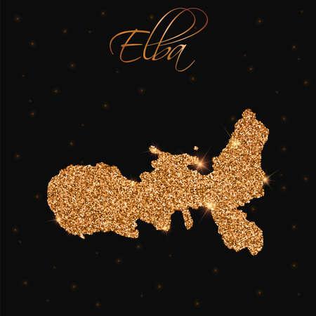 elba: Elba map filled with golden glitter. Luxurious design element, vector illustration.