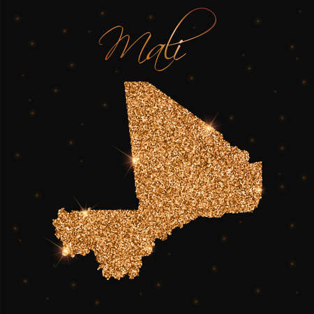 boundary: Mali map filled with golden glitter. Luxurious design element, vector illustration.