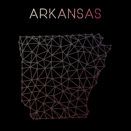 Arkansas network map. Abstract polygonal US state map design. Network connections vector illustration.