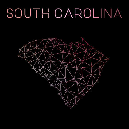 South Carolina network map. Abstract polygonal US state map design. Network connections vector illustration.