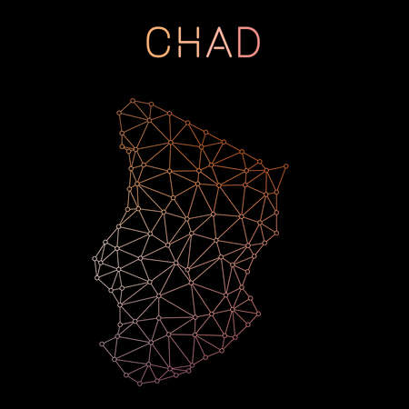 Chad network map. Abstract polygonal map design. Network connections vector illustration.