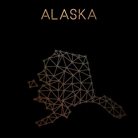 Alaska network map. Abstract polygonal US state map design. Network connections vector illustration. Illustration