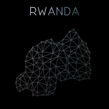 Rwanda network map. Abstract polygonal map design. Network connections vector illustration.